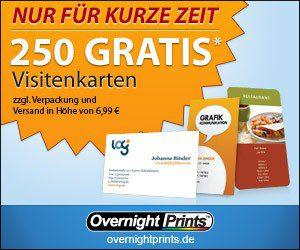 250 Visitenkarten Gratis Jetzt Bei Overnightprints Bestellen